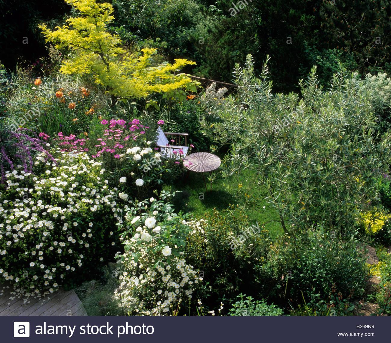 Jardin En Terrasses En Pente Banc En Bois Banque D Images Photo