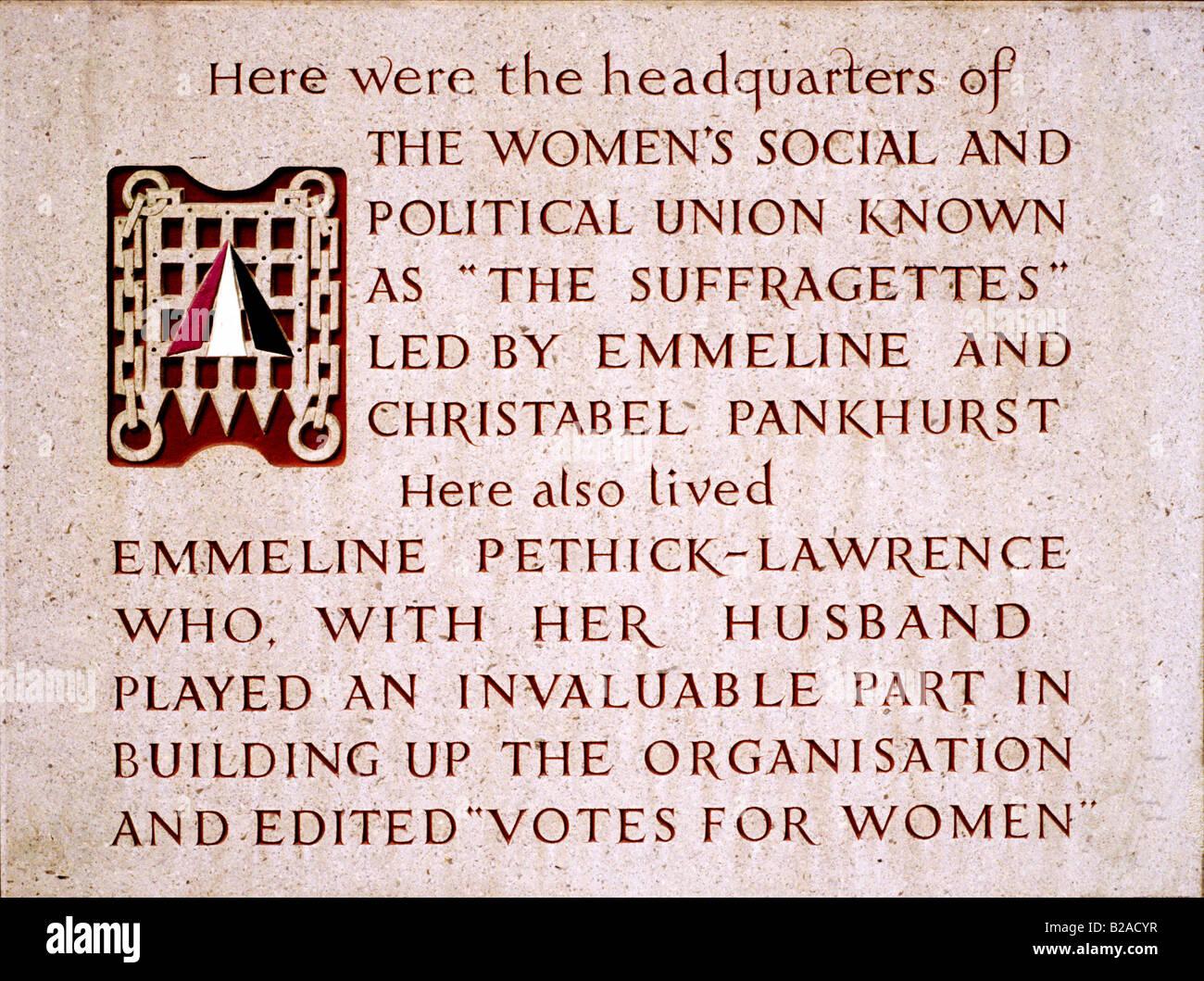 Plaque commémorant les suffragettes Clements Inn London England UK Womens Passage Union sociale et politique Pankhurst Banque D'Images