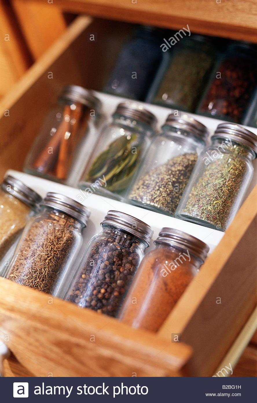 Close up d'épices en pots Photo Stock