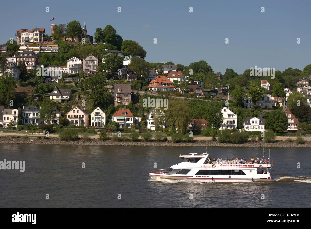 Quartier Blankenese, Elbe sophistiqués, banlieue banlieue villa, cours inférieur de l'Elbe, Elbe, Photo Stock