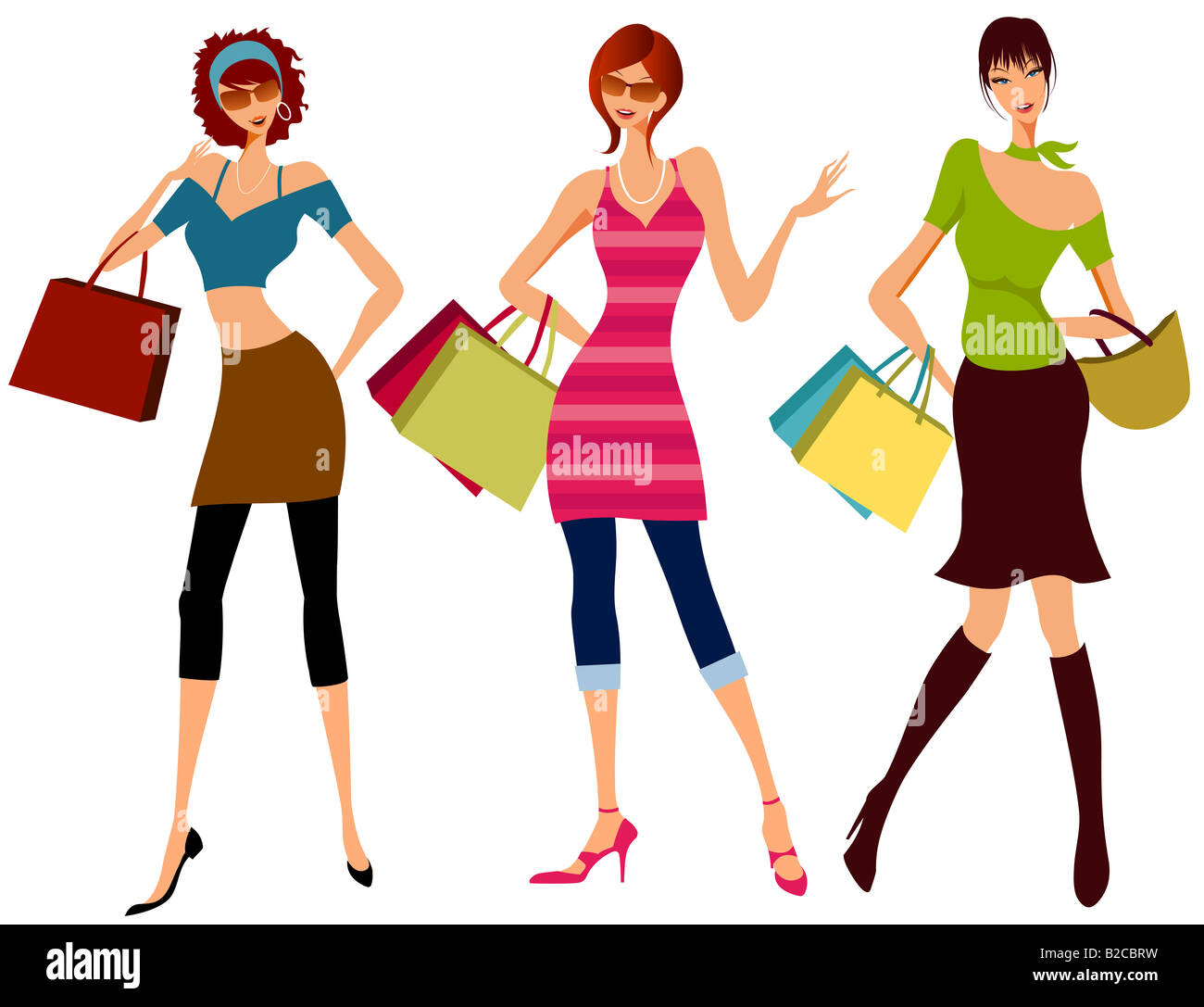 Illustration dessin de filles shopping Banque D'Images