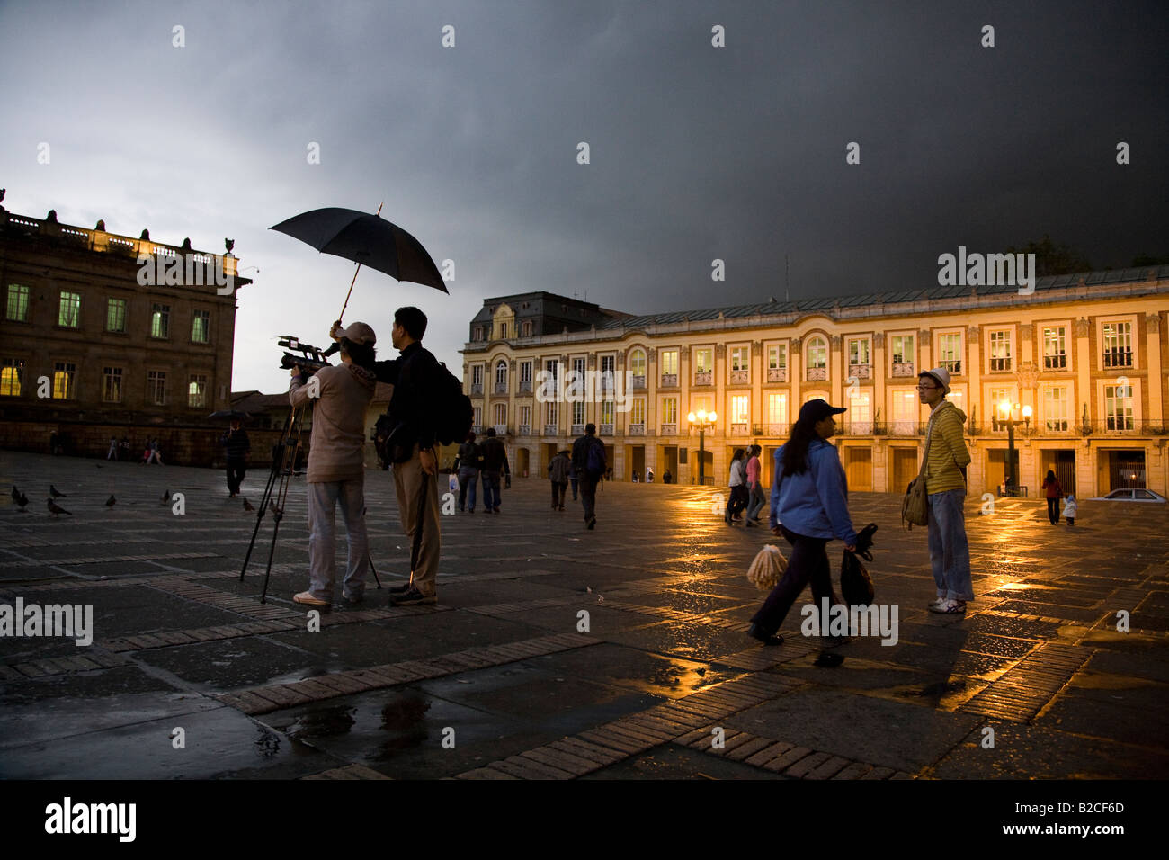 La Plaza Bolivar dans la pluie Photo Stock