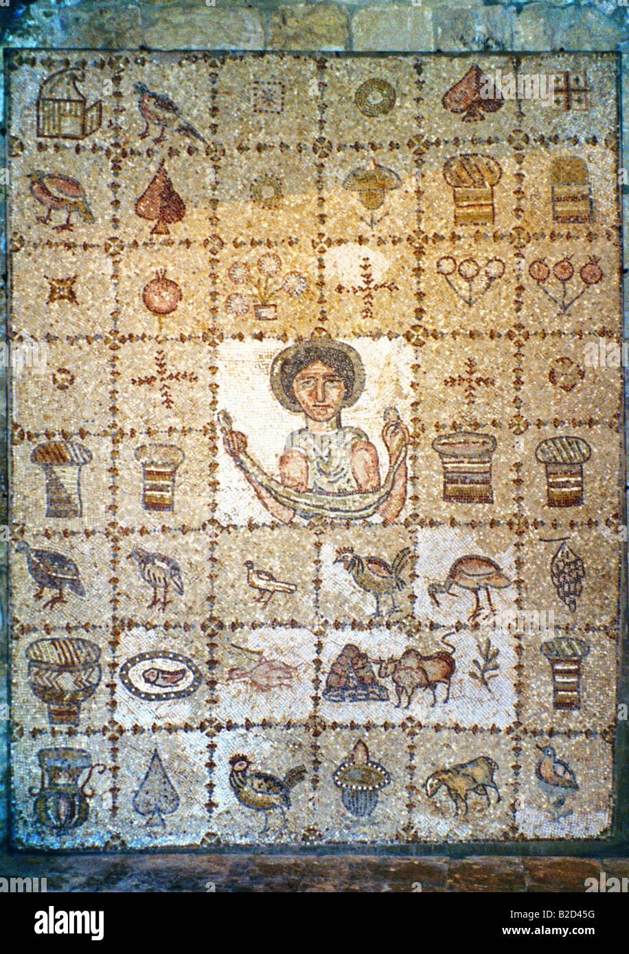 Beit ed-Dine Liban Mosaïque de Ouza'i 5 siècle ap. Photo Stock