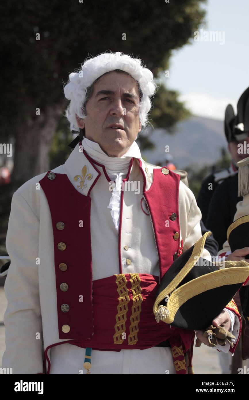 Général Gutierrez joué par Jésus de Burgos Ruiz Moreno lors d'une reconstitution de la bataille de Santa Cruz 1797 Banque D'Images