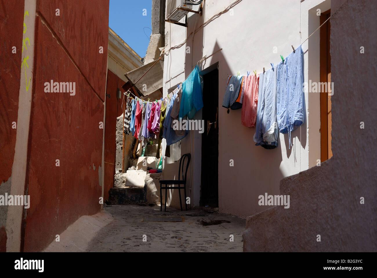 Paysage de rue à Thira, Santorin Grèce Banque D'Images