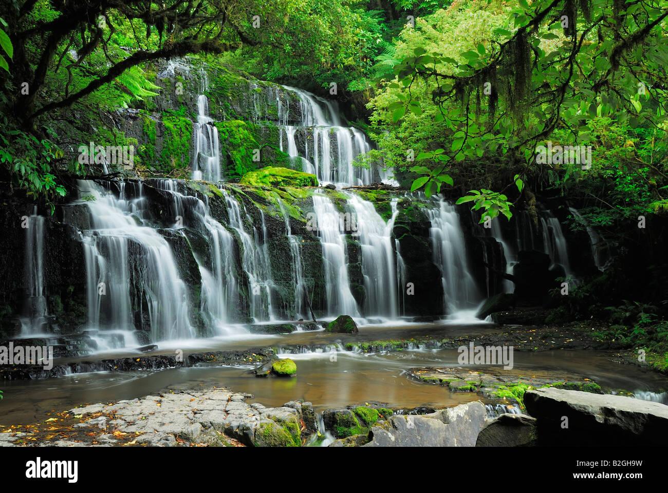 Purakaunui falls parc forestier de catlins otago nouvelle-zélande île du sud jungle Banque D'Images