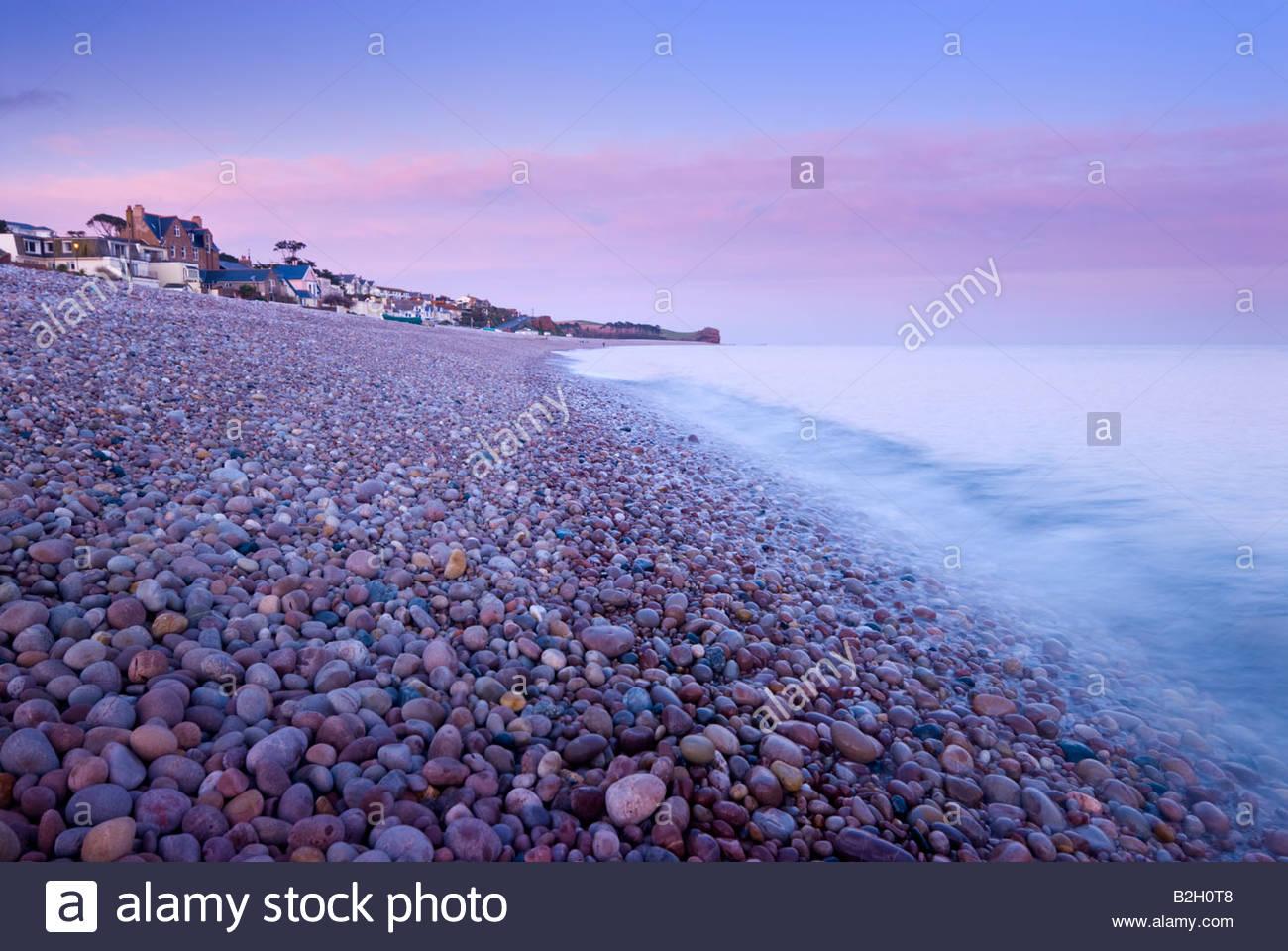 Le rivage à Budleigh Salterton, l'est du Devon, Sud-ouest de l'Angleterre. Photo Stock