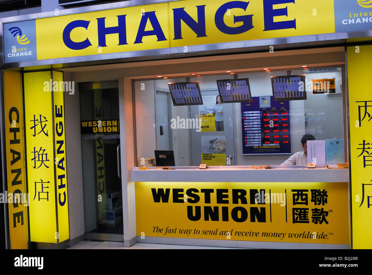 Bureau de change western union bank hongkong chine kowloon banque