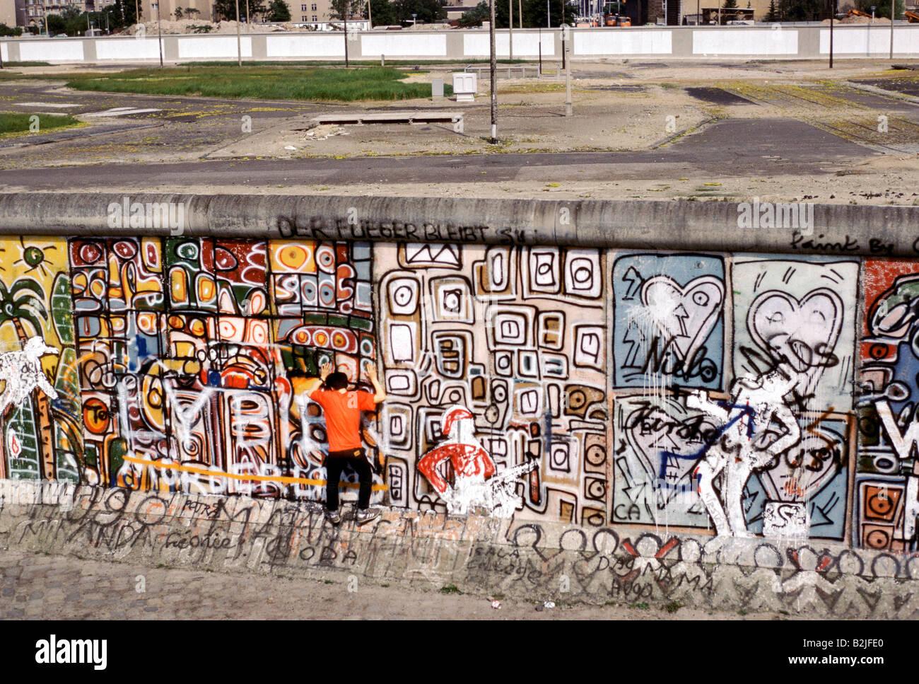 Mur de Berlin s'wasteland entourant l'unification préalable 86 Photo Stock