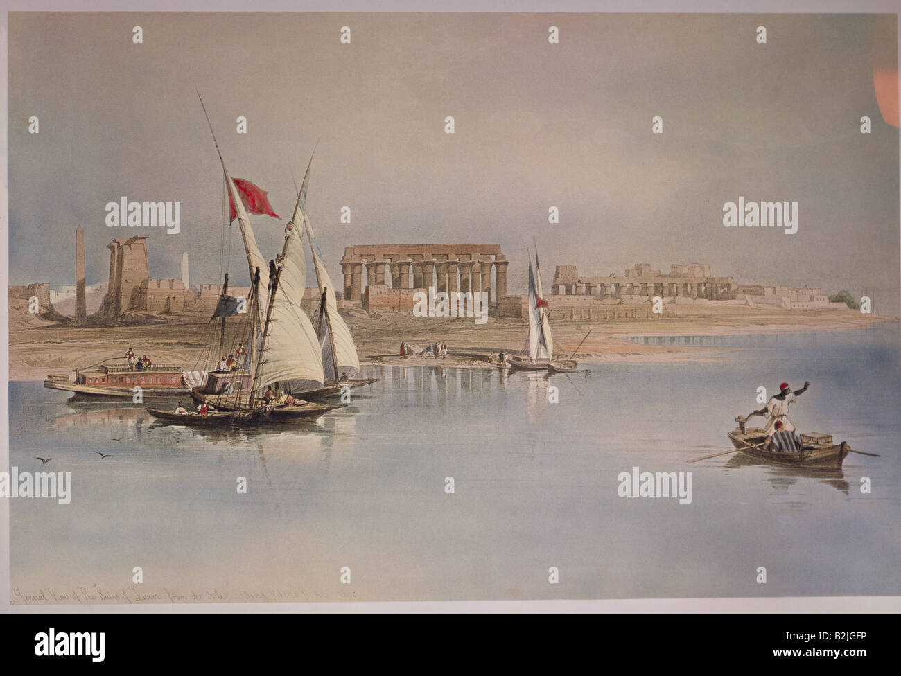 Géographie / voyage, Egypte, Louxor, vue sur la ville / paysages urbains, Ruines de Louxor, lithographie couleur, Photo Stock