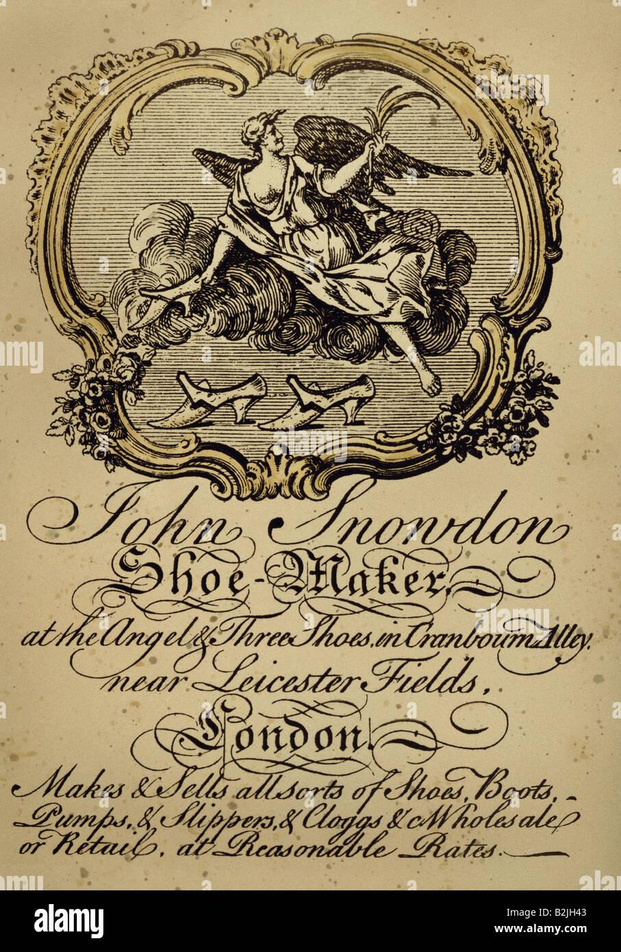 La Publicit Les Cartes De Visite Carte Dun Cordonnier Londres Gravure Sur Cuivre Vers 1750 Lartiste Na Pas Dauteur Pour Tre