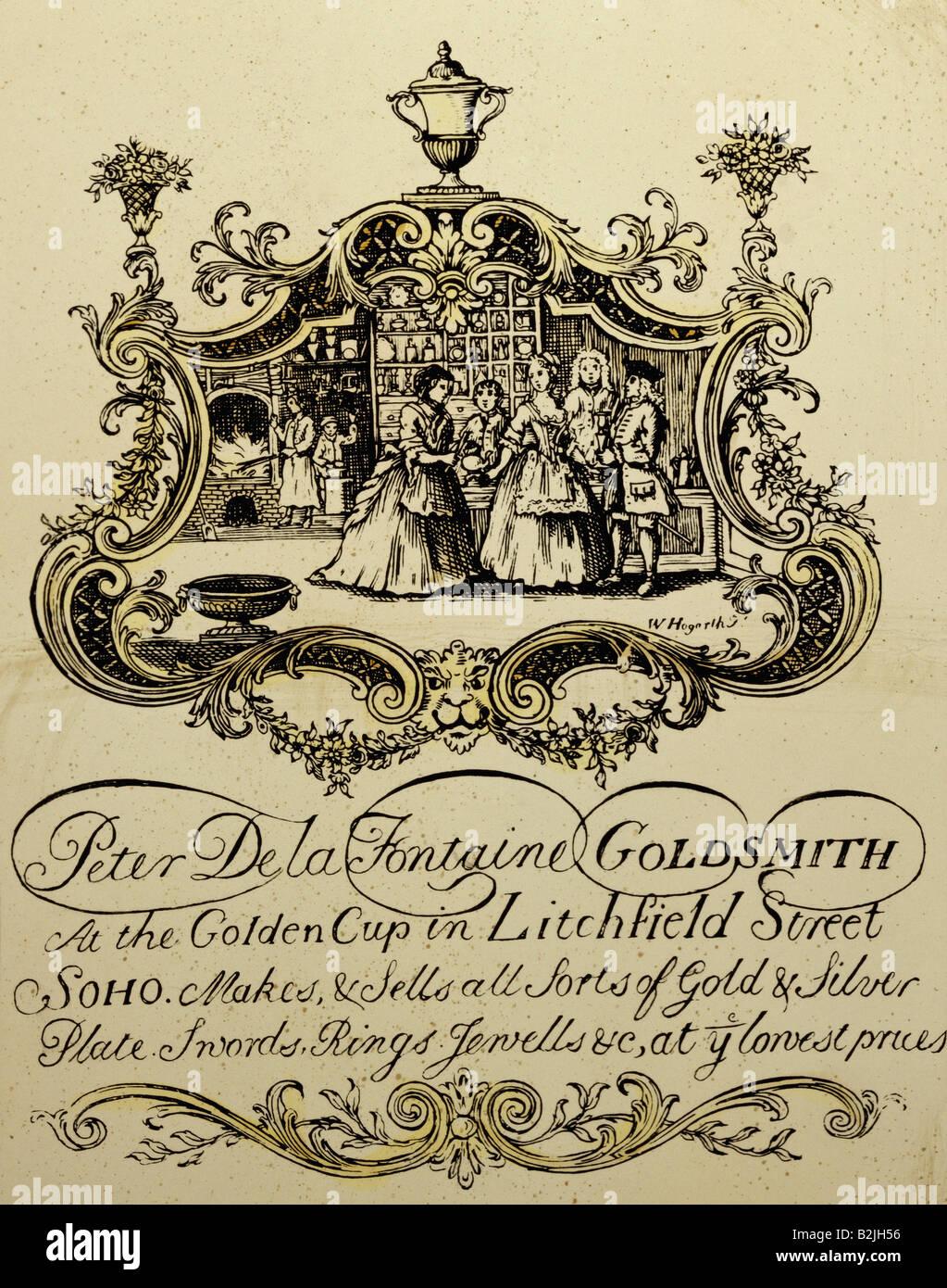 La Publicit Les Cartes De Visite Carte Dun Orfvre Gravure Sur Cuivre Par William Hogarth 1697