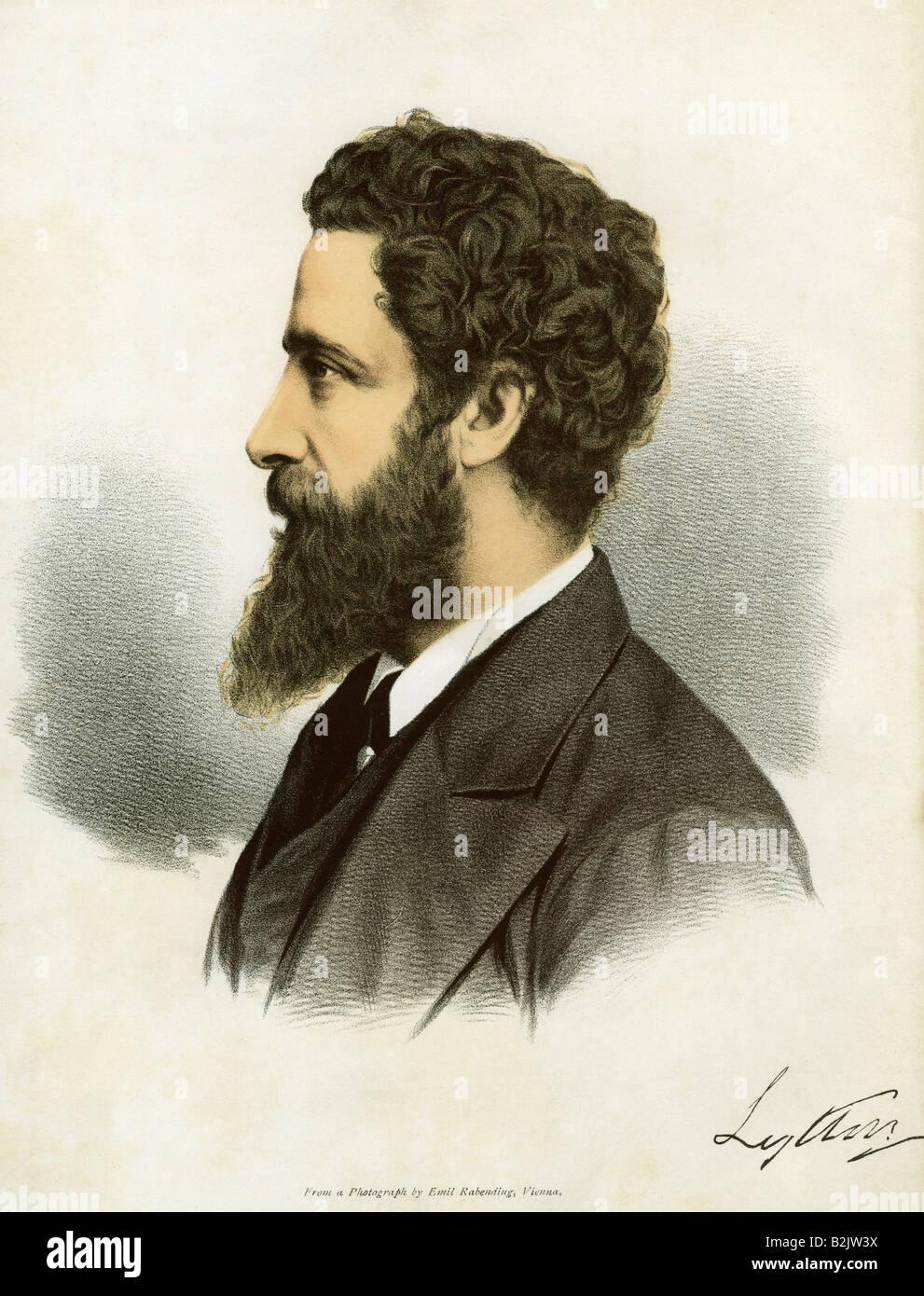 Bulwer-Lytton, Edward Robert, 8.11.1831 - 24.11.1891, diplomate britannique, auteur, lithographie colorée, basée sur une photographie d'Emil Rabending, Vienne, Autriche, fin du XIXe siècle, Banque D'Images