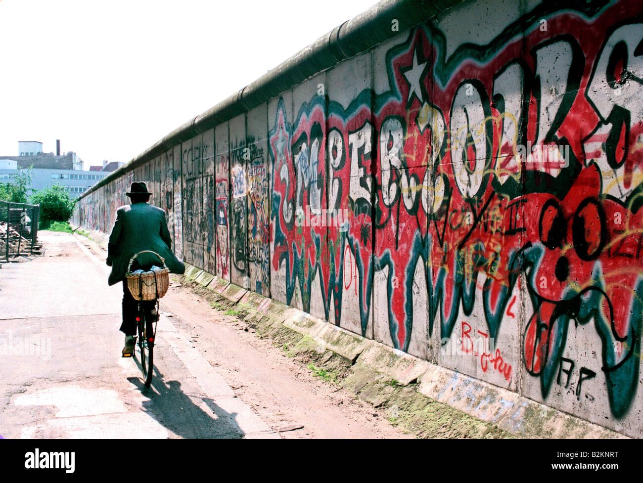 Le mur de Berlin 1986 avant l'unification Photo Stock
