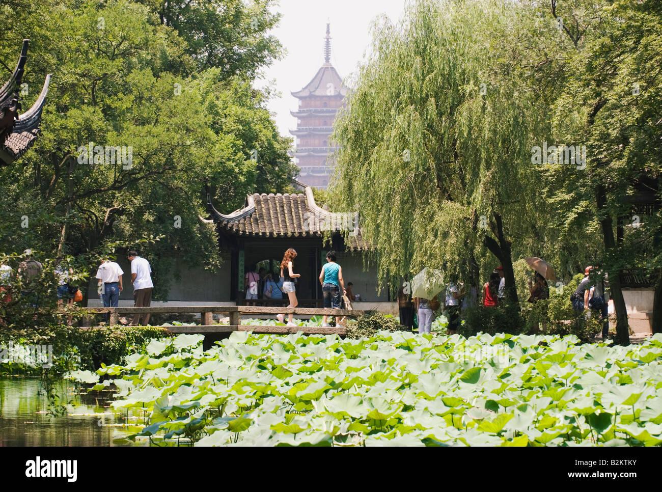 La Chine, Suzhou, Humble Administrator's Garden, Zhouzheng Yuan Photo Stock
