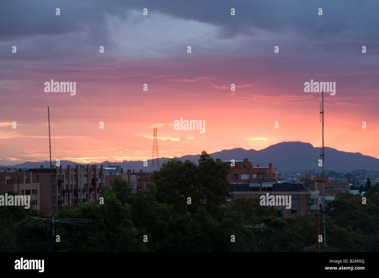 Coucher de soleil sur Bogota Colombie Photo Stock