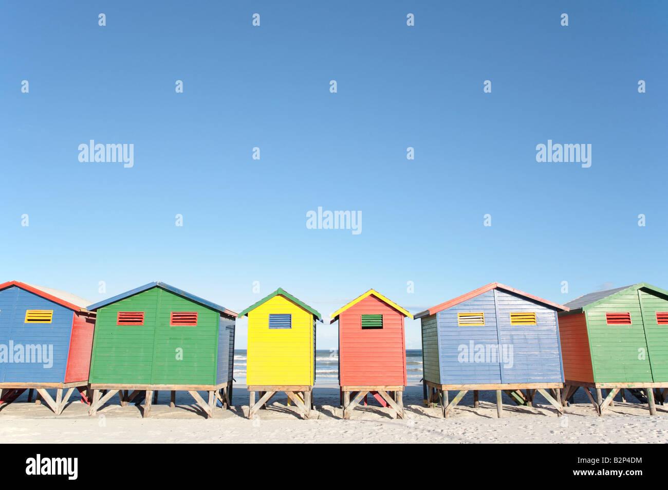Cabines de plage, Muizenberg, Afrique du Sud Photo Stock