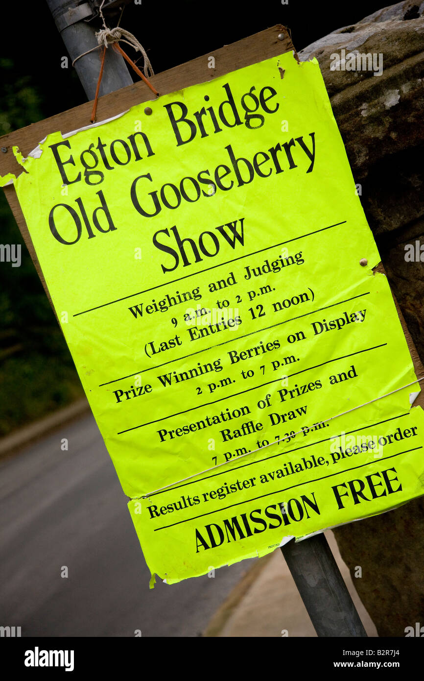 Pour l'affiche de Egton Bridge North Yorkshire Show Groseille Photo Stock