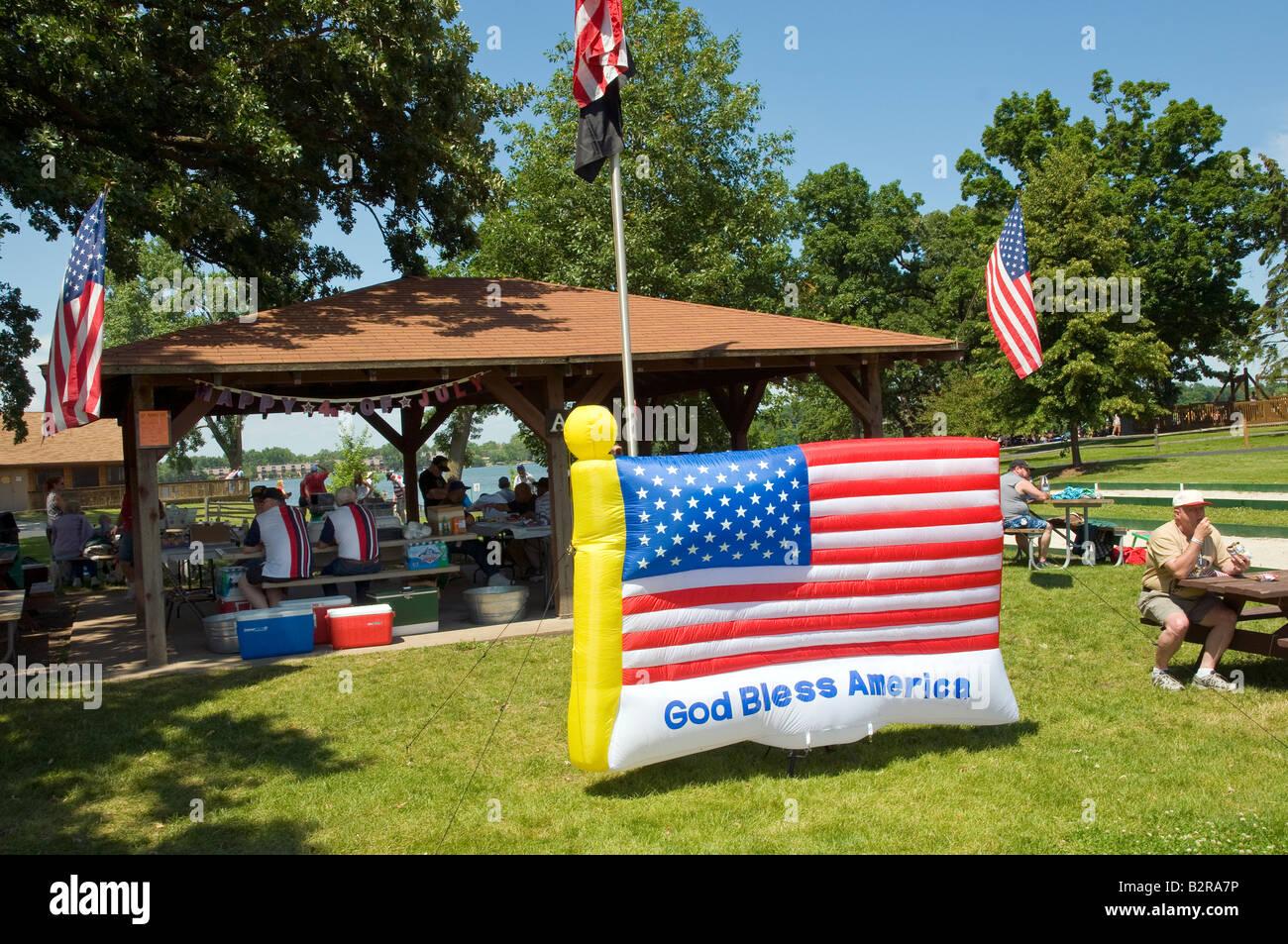 Petite ville USA 4 juillet afficher Banque D'Images