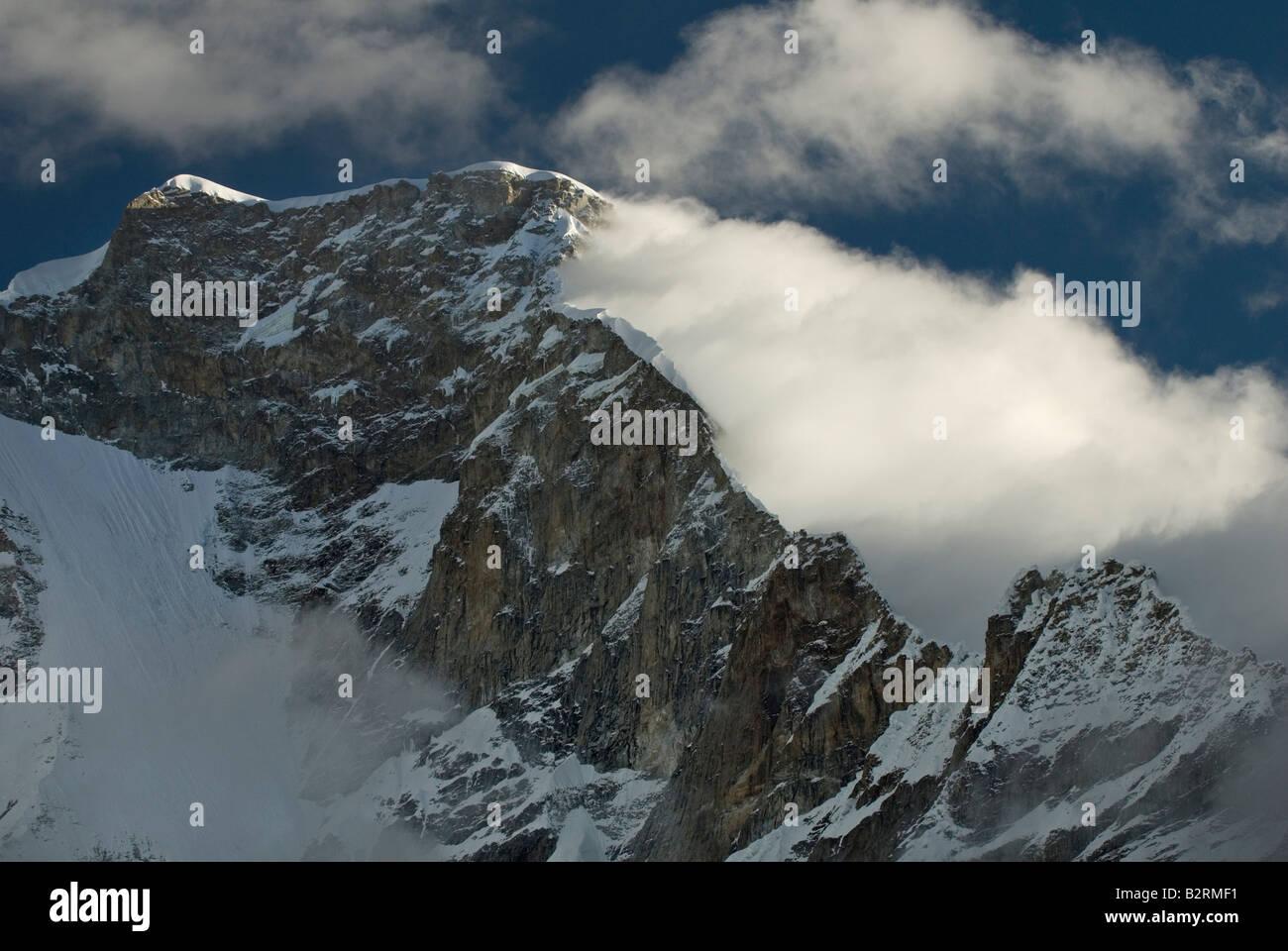Face nord-est et nord-est de la crête de Norte Huascarán Photo Stock