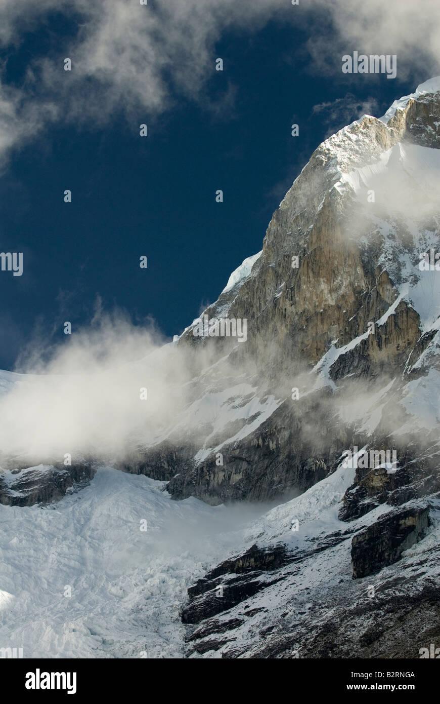 Face nord-est de Norte Huascarán Photo Stock