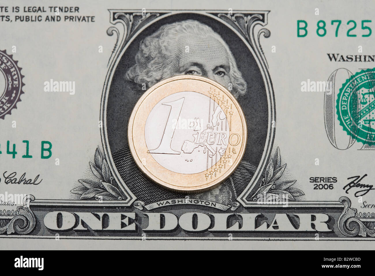 Sur l'Euro dollar bill Photo Stock