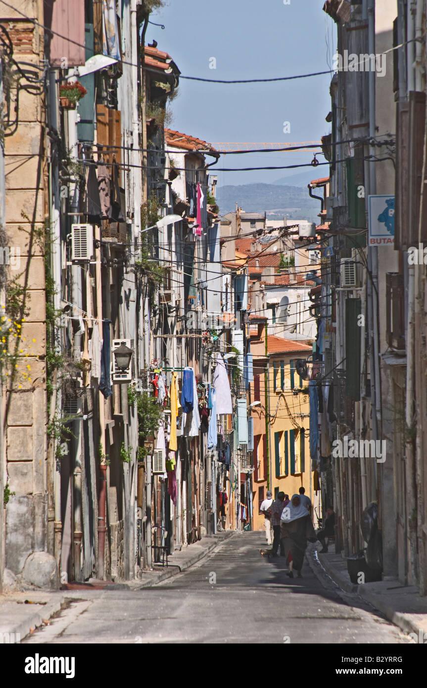 Rue de la vieille ville. Perpignan, Roussillon, France. Photo Stock