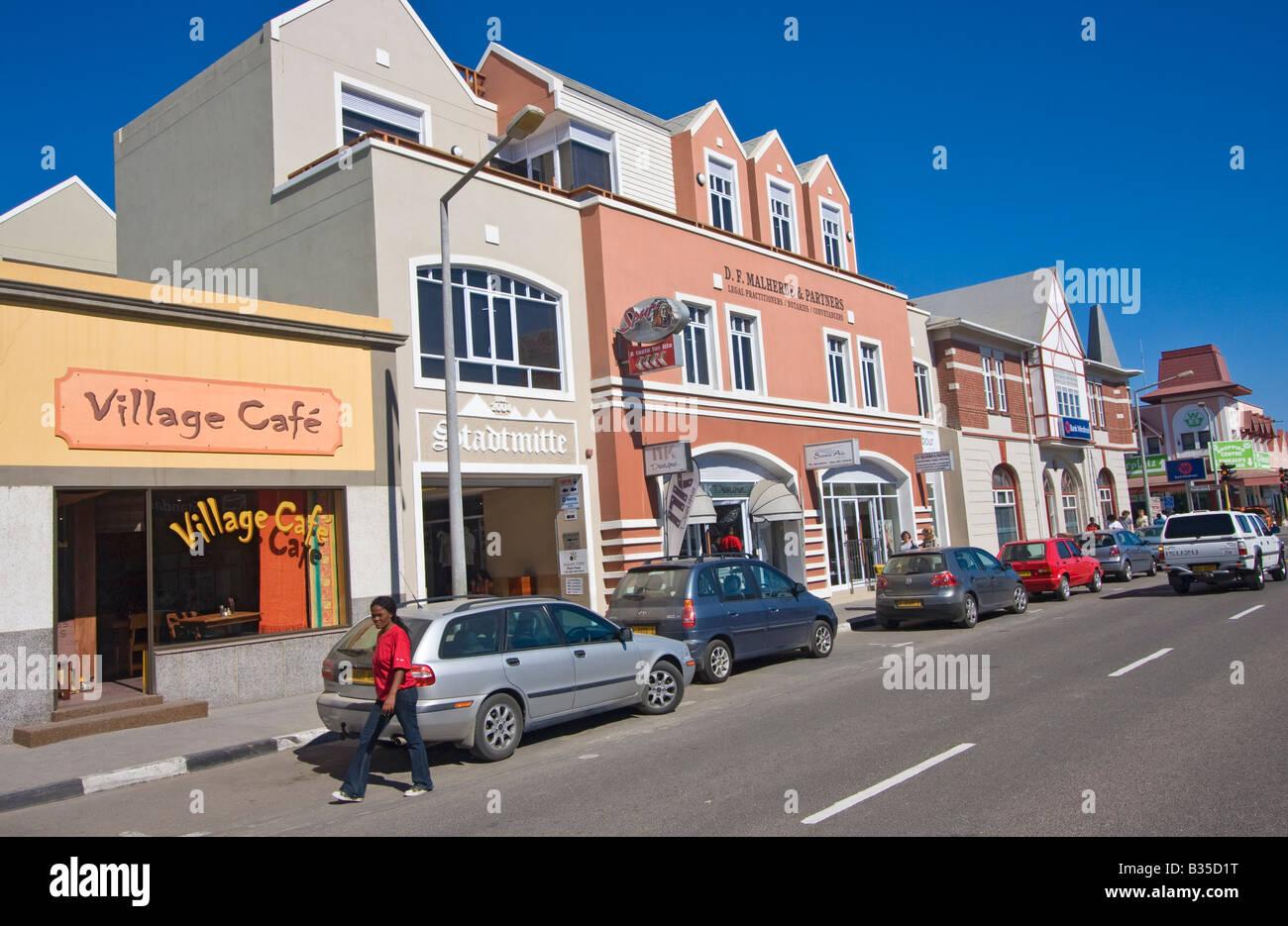Centre-ville côtière de Swakopmund Namibie ville touristique où l'architecture allemande est commun Banque D'Images