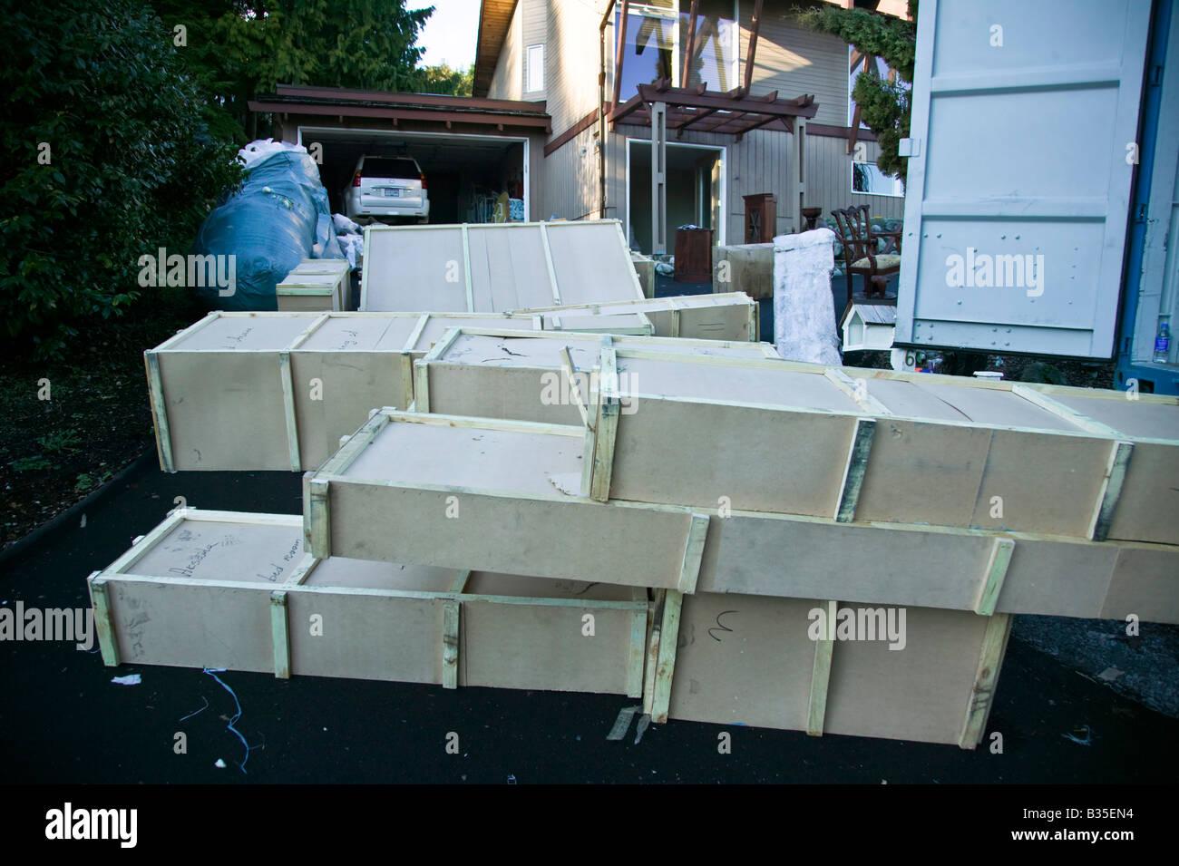 Caisses grand déballage Photo Stock