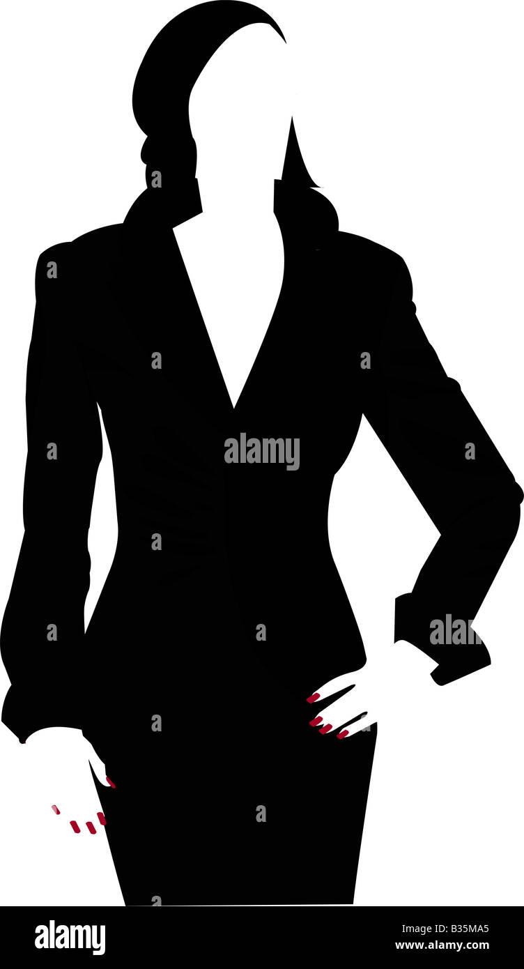 Silhouette d'une femme avec des clous rouges Photo Stock
