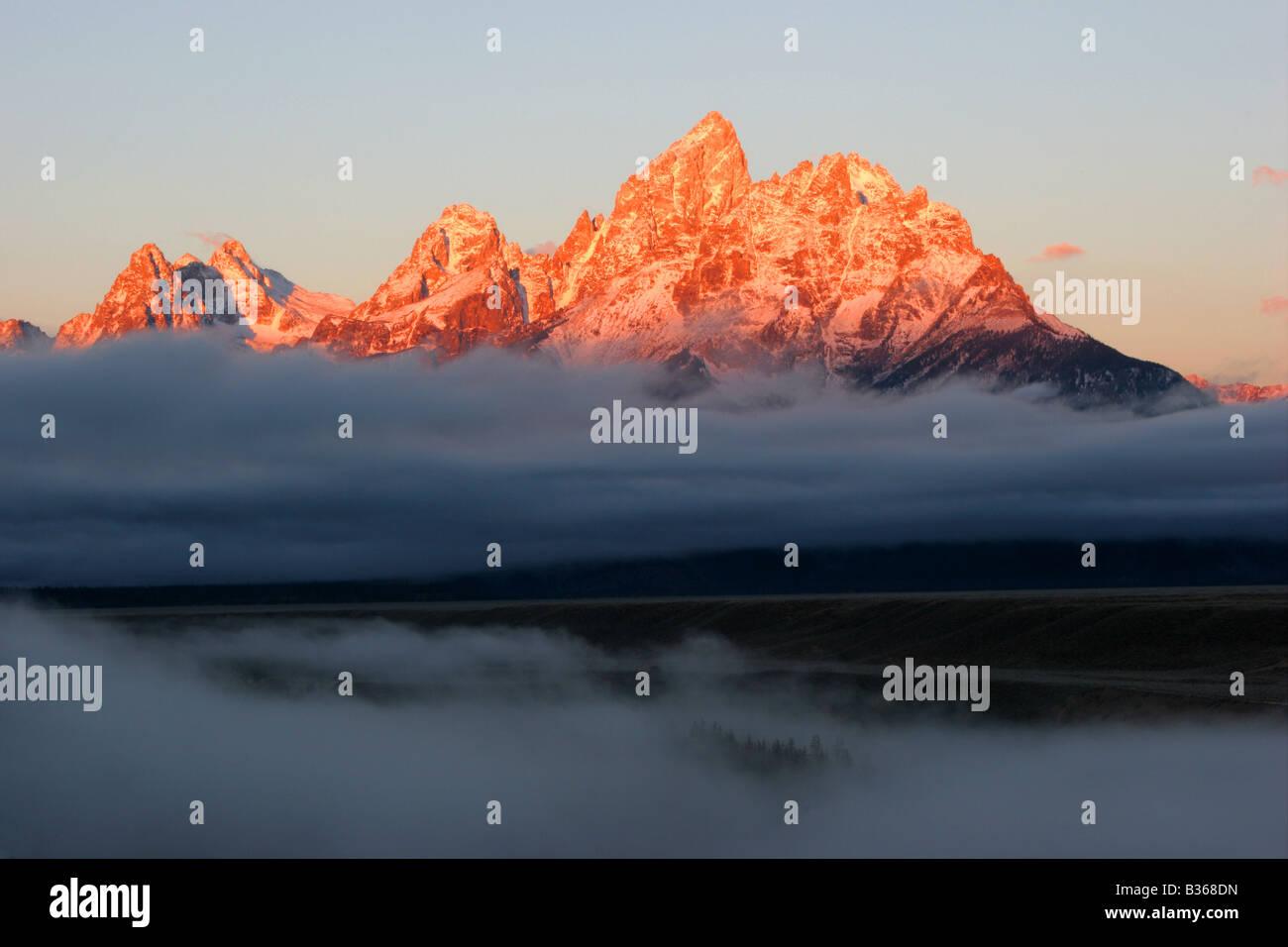 Sunrise Grand Teton, Grand Teton National Park Banque D'Images
