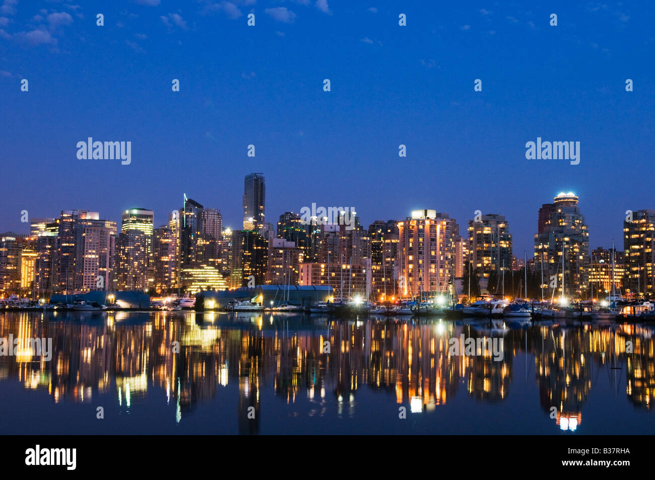 Soirée skyline Coal Harbour Vancouver Canada Photo Stock