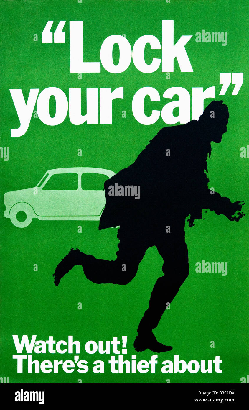 Attention il y a un voleur sur la prévention du crime Original Poster 1968 Bureau central d'information Photo Stock