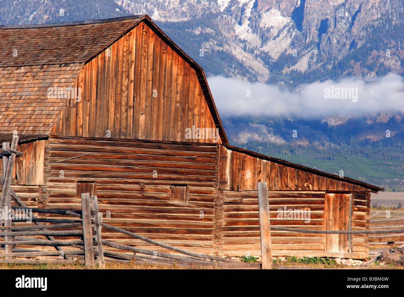 Ancienne grange, mormon row, parc national de Grand Teton, Wyoming Banque D'Images