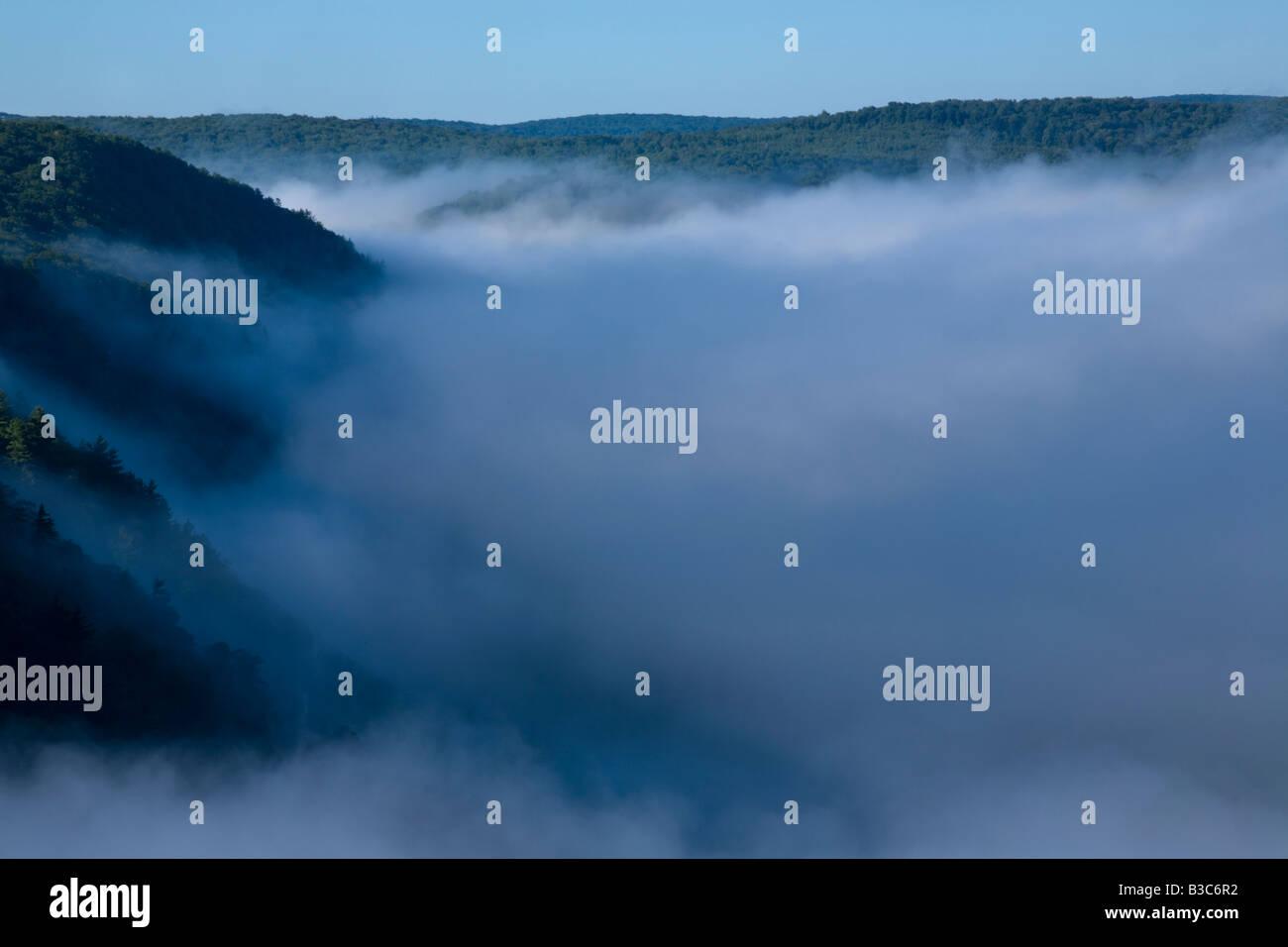Levage de brouillard sur la Gorge de Pine Creek Canyon d'Alabama Photo Stock