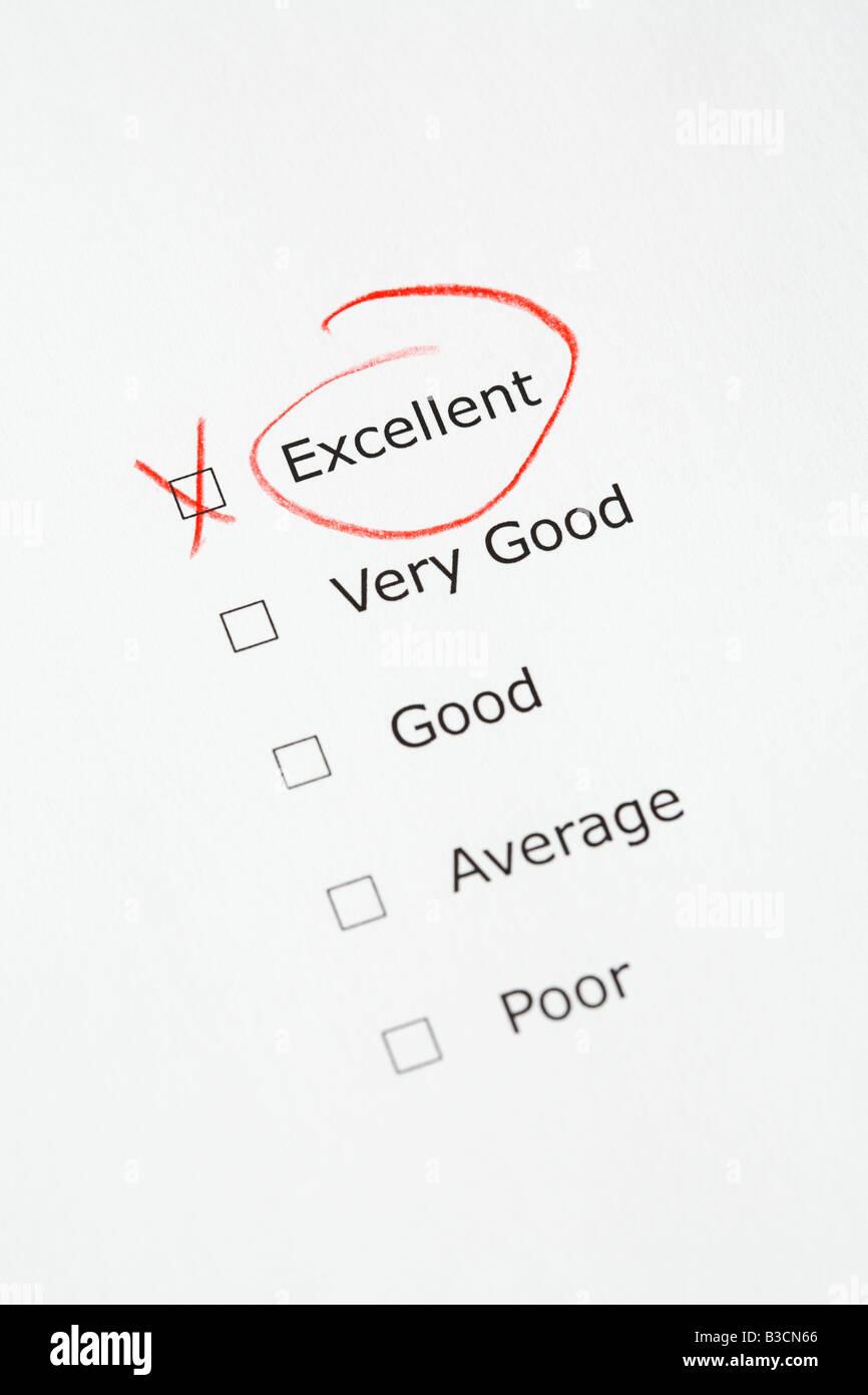 Échelle de cotation avec excellent coché - Questionnaire, rapport, la satisfaction du client, concept Photo Stock