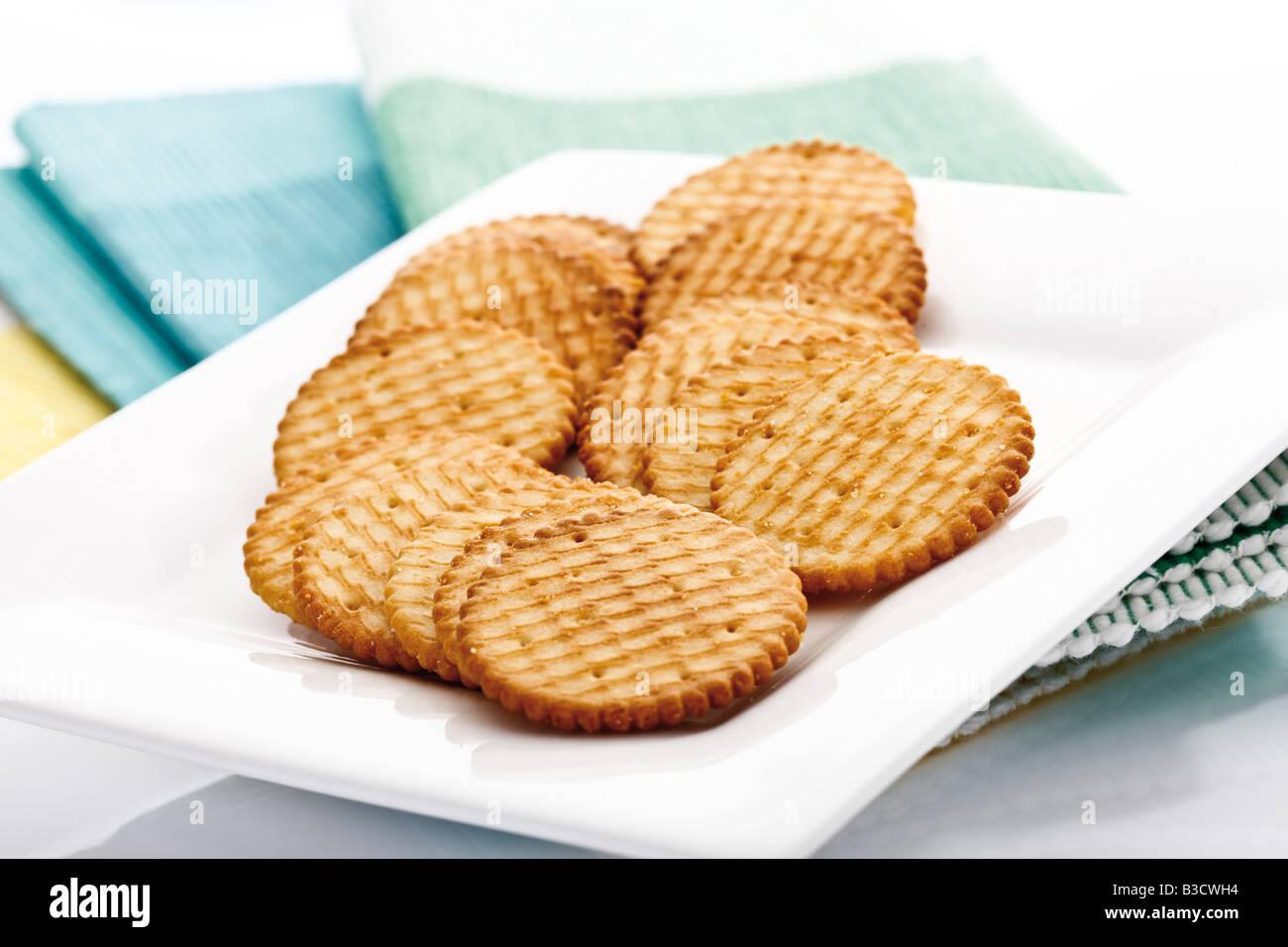 Cracker sur plateau, close-up Photo Stock