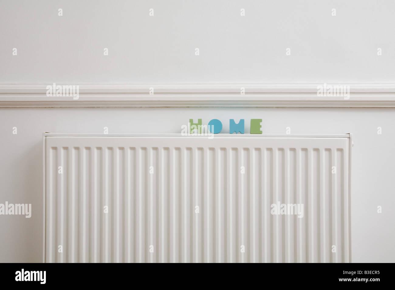 Le mot accueil sur un radiateur Photo Stock