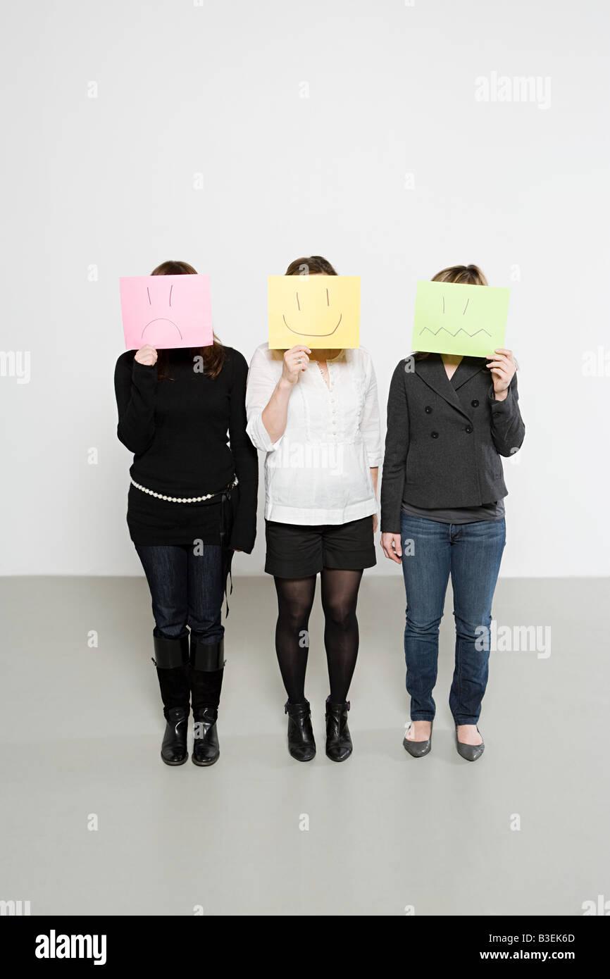 Les femmes avec des visages tirés Photo Stock
