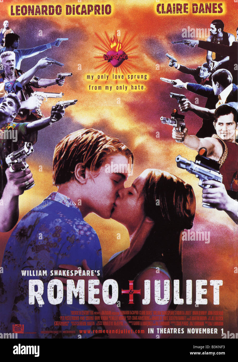 WILLIAM SHAKESPEARE'S Romeo and Juliet affiche de 1996 TCF/Bazmark film avec Leonardo DiCaprio et Claire Danes Photo Stock