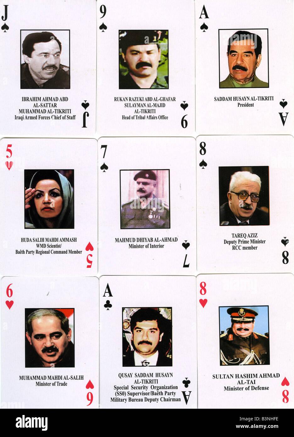 Jeu de cartes SADDAM HUSSEIN montrant Saddam et son personnel plus recherchés émis par nous-les forces de la Coalition en 1991, au cours de l'Iraq Wa Banque D'Images