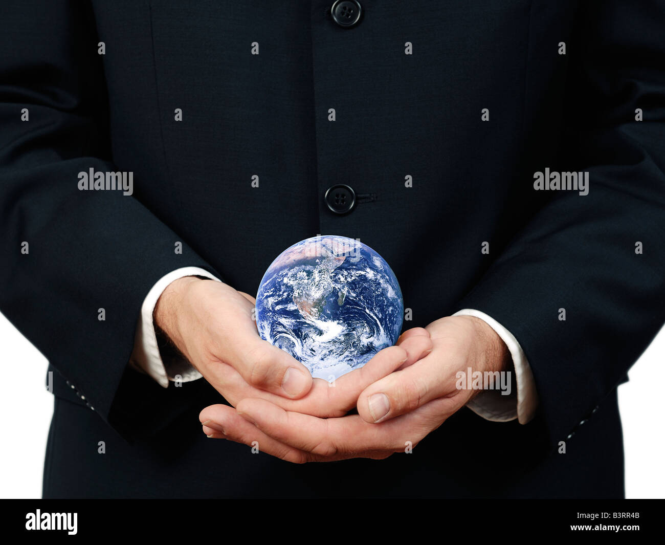 Businessman Holding Planète Terre Close Up Photo Stock
