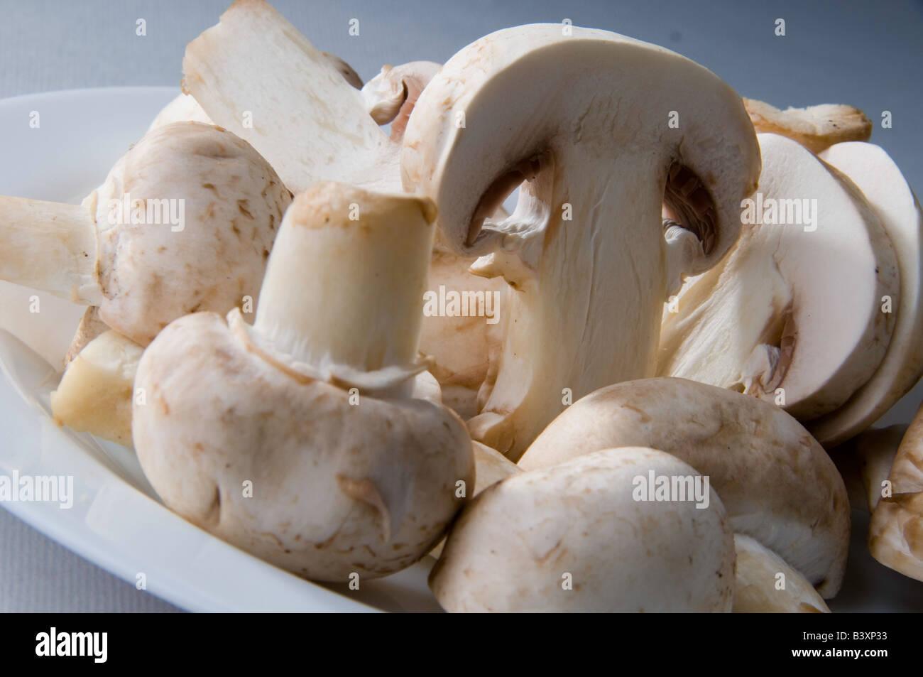 La photographie alimentaire, les champignons en configuration studio Photo Stock
