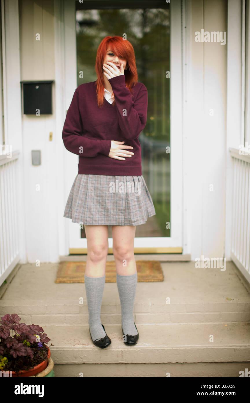 Notre gardienne teint ses cheveux orange cette scandaleuse et posé pour ce portrait avant que sa maman a fait Photo Stock
