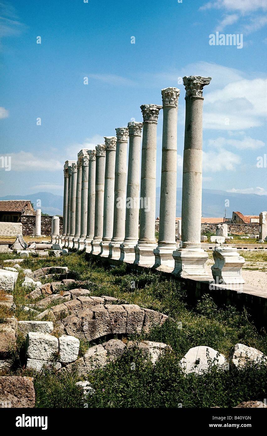 Géographie / voyage, Turquie, Izmir, Agora, des ruines, des colonnes corinthiennes, colonne, antiquité, Photo Stock