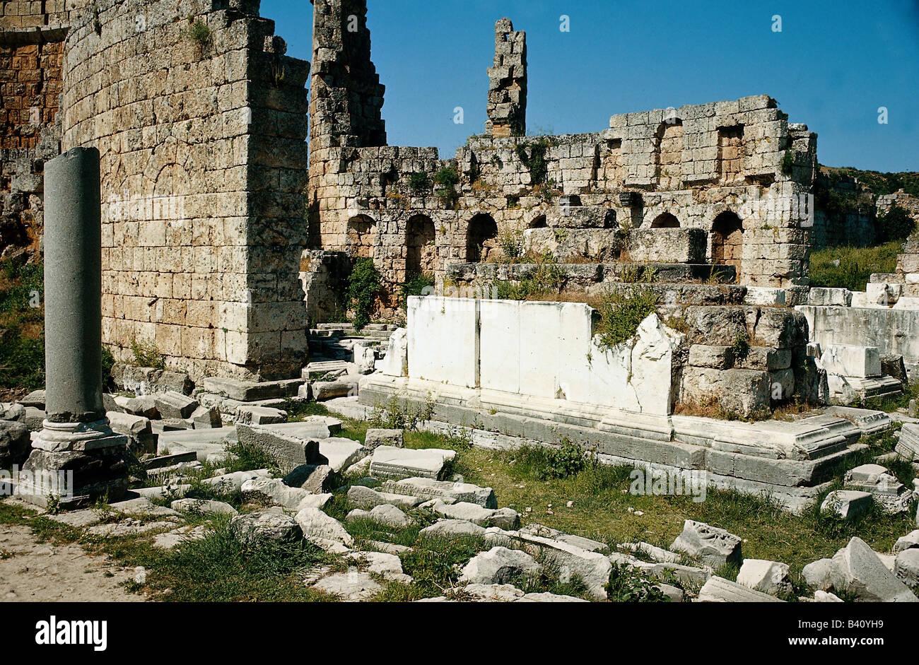 Géographie / voyage, Turquie, Perge, basilique byzantine, ruine, excavations, l'antiquité, la Cappadoce, Photo Stock