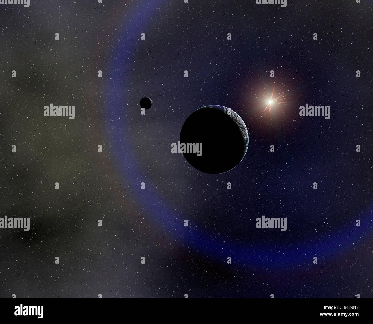 La Terre et la Lune en orbite autour du Soleil. Photo Stock