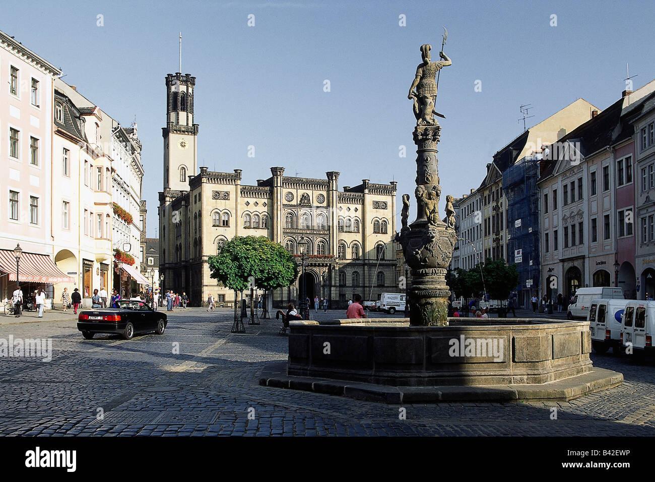 Géographie / voyage, Allemagne, Saxe, Zittau, Marsbrunnen avec l ...
