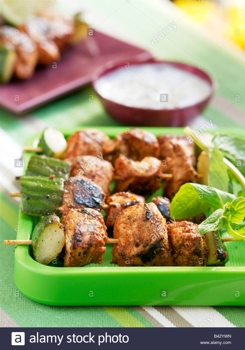 Brochettes de poulet tandoori Photo Stock