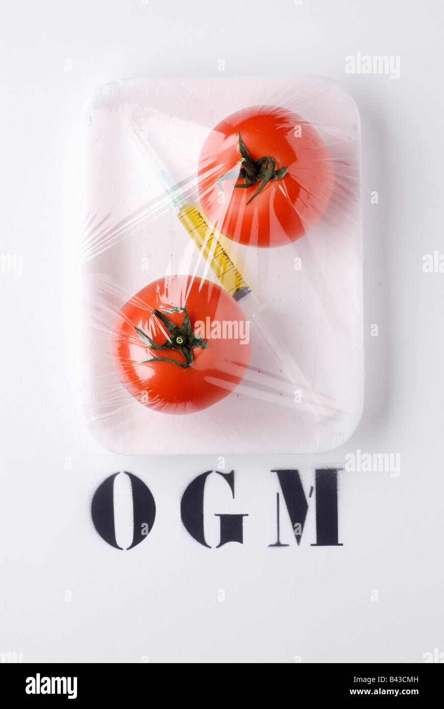 Tomates GM et de seringues Photo Stock